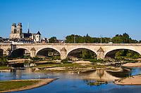 France, Region Centre-Val de Loire, Loiret (45), Orléans, la Loire, le pont Georges V et la Cathedrale Sainte Croix // France, Loiret, Orleans, the Loire, Georges 5 bridge and Sainte-Croix cathedral