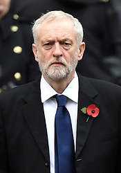 © Licensed to London News Pictures. 08/11/2015. London, UK. JEREMY CORBYN a holding wreath as he attend the Remembrance Sunday Service at the Cenotaph in Westminster, Central London.. Photo credit: Ben Cawthra/LNP