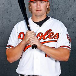 February 26, 2011; Sarasota, FL, USA; Baltimore Orioles third baseman Mark Reynolds (12) poses during photo day at Ed Smith Stadium.  Mandatory Credit: Derick E. Hingle