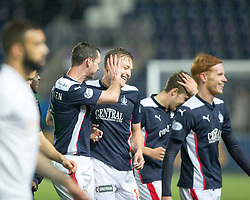 Scorer Falkirk's David McCracken at the end.<br /> Falkirk 1 v 0 Hibernian, Scottish Championship game played 6/12/2014 at The Falkirk Stadium .