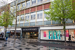 Slough, UK. 26th April 2019. The Debenhams store in Slough, which is among the 22 of 50 stores which the department store chain announced today have been earmarked for closure following a decline in high street sales. Closures will begin in 2020 and around 1,200 staff will be affected.