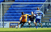 Photo. Chris Ratcliffe<br /> Reading v Wolverhampton Wanderers. Coca Cola Championship. 30/04/2005<br /> Rohan Ricketts scores the winner past Marcus Hahnemann in the Reading goal