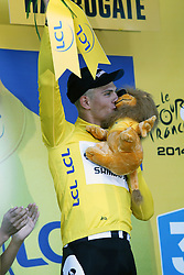 © Licensed to London News Pictures. HARROGATE, ENGLAND, UK. Saturday July 5th 2014. Tour de France Yorkshire Grand Depart. Stage 1 Leeds to Harrogate. Team  Giant-Shimano rider Marcel Kittel takes the stage win and the yellow jersey in Harrogate. Photo credit : Chris Etchells/LNP