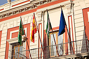Spanish flags flying on provincial government offices in Plaza del Triunfo central Seville, Spain