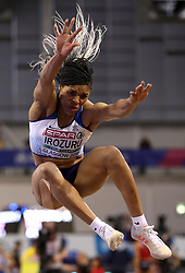 Great Britain's Abigail Irozuru during Women's Long Jump Finals during day three of the European Indoor Athletics Championships at the Emirates Arena, Glasgow.