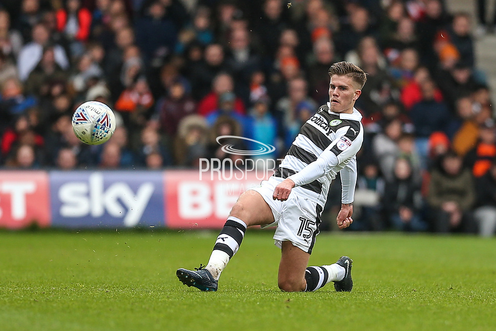 Forest Green Rovers Charlie Cooper(15) passes the ball forward during the EFL Sky Bet League 2 match between Luton Town and Forest Green Rovers at Kenilworth Road, Luton, England on 28 April 2018. Picture by Shane Healey.