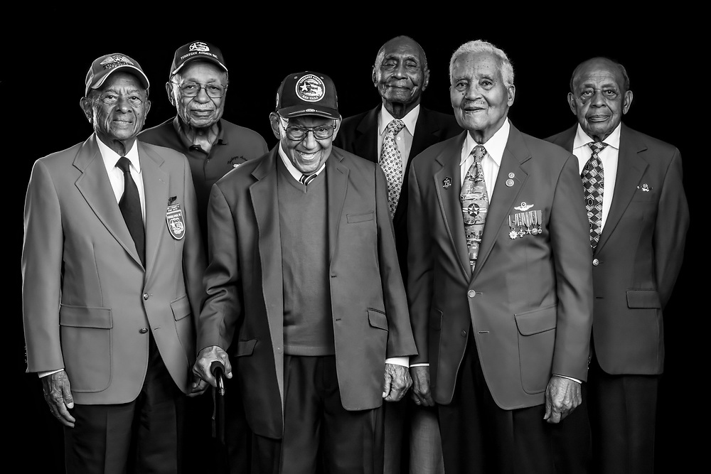 Six original Tuskegee Airmen, photographed  during the Atlanta Warbird Weekend, on 6 October, 2017. L to R are LTC. Harry T. Stewart, Mr. Oscar Lawton Wilkerson, LTC. Robert Friend, Dr. HIllard Pouncy, Col. Charles McGee, and LTC. Harold Brown.   Created by aviation photographer John Slemp of Aerographs Aviation Photography. Clients include Goodyear Aviation Tires, Phillips 66 Aviation Fuels, Smithsonian Air & Space magazine, and The Lindbergh Foundation.  Specialising in high end commercial aviation photography and the supply of aviation stock photography for commercial and marketing use.
