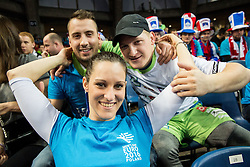 Supporters of Slovenia during handball match between National teams of Germany and Slovenia on Day 6 in Preliminary Round of Men's EHF EURO 2016, on January 20, 2016 in Centennial Hall, Wroclaw, Poland. Photo by Vid Ponikvar / Sportida