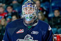 KELOWNA, CANADA, JANUARY 27: Calvin Pickard #1 of the Seattle Thunderbirds stands in net as the Seattle Thunderbirds visit the Kelowna Rockets on January 27, 2012 at Prospera Place in Kelowna, British Columbia, Canada (Photo by Marissa Baecker) *** Local Caption ***