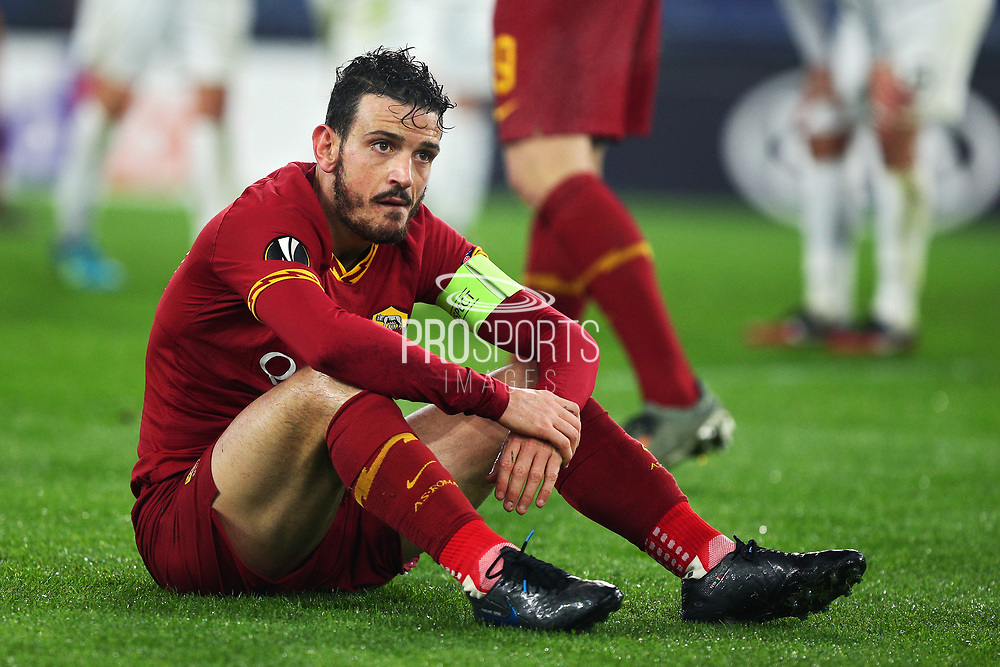 Alessandro Florenzi of Roma reacts on the ground at the end of the UEFA Europa League, Group J football match between AS Roma and Wolfsberg AC on December 12, 2019 at Stadio Olimpico in Rome, Italy - Photo Federico Proietti / ProSportsImages / DPPI