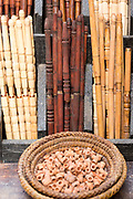 FEZ, MOROCCO - 1st DECEMBER 2016 - Kif pipes for sale at a market stall in the old Fez Medina, Middle Atlas Mountains, Morocco.