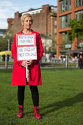 © Licensed to London News Pictures . 06/05/2014 . Piccadilly Gardens , Manchester , UK . Actress Julie Hesmondhalgh at the demonstration . Demonstration to highlight the plight of over 200 Nigerian girls kidnapped by Islamist Extremist group Boko Haram as today the group's leader , Abubakar Shekau , has said he will sell the girls in to slavery . Photo credit : Joel Goodman/LNP
