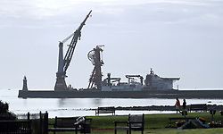 The DCV Aegir, a Deep Water Construction Vessel owned by Heerema Marine Contractors used for pipe laying arrives in the mouth of the River Tyne in North East England.