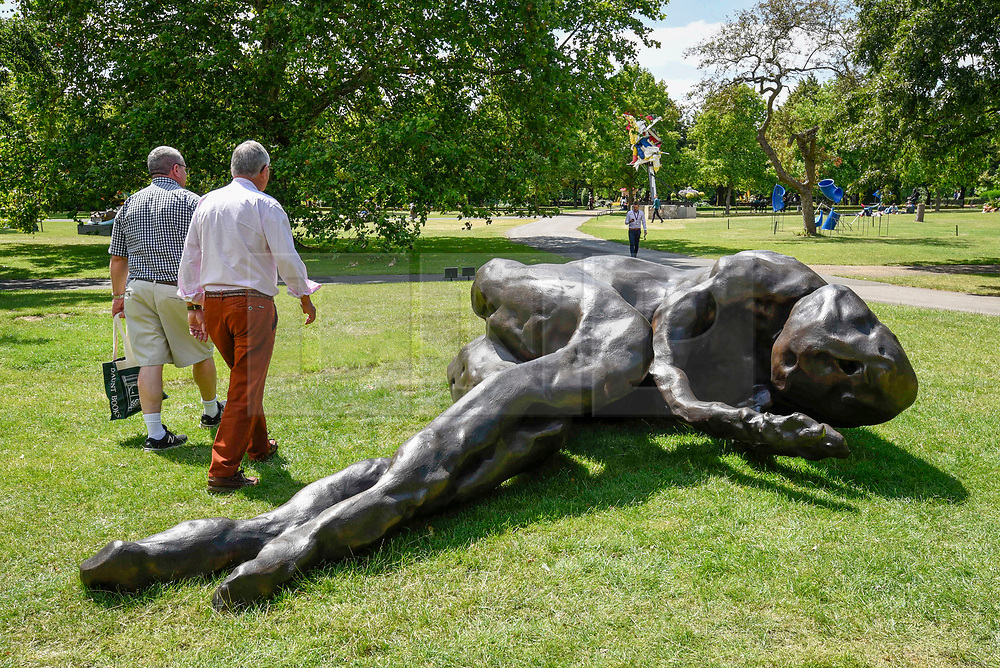 "© Licensed to London News Pictures. 03/07/2019. LONDON, UK. ""When I Sleep"", 2018, by Tracey Emin. Frieze Sculpture opens in Regent's Park, London's largest free display of outdoor art.  Works from 23 international artists are on display 3 July to 6 October 2019.  Photo credit: Stephen Chung/LNP"