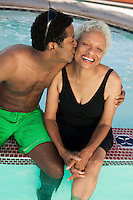 Son Kissing Mother Poolside