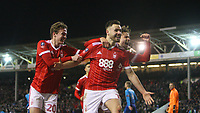 Forest celebrate taking a 3-1 lead over Arsenal thanks to a Ben Brereton penalty during The Emirates FA Cup Third Round match between Nottingham Forest and Arsenal at City Ground on January 7, 2018 in Nottingham, England.