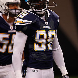August 27, 2010; New Orleans, LA, USA; San Diego Chargers linebacker Kevin Burnett (99) prior to the start of a preseason game at the Louisiana Superdome. The New Orleans Saints defeated the San Diego Chargers 36-21. Mandatory Credit: Derick E. Hingle