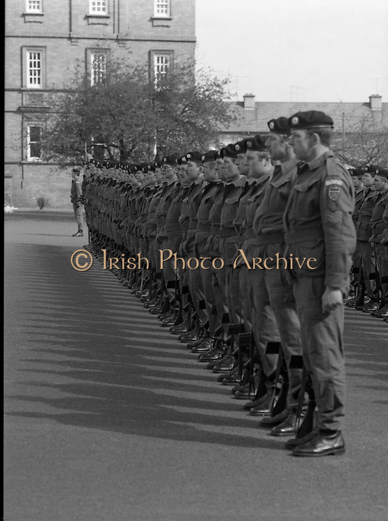 1983-04-12.12th April 1983.12-04-1983.04-12-83...Photographed at McKee Barracks, Cork..Attention..Troops stand at attention for review..