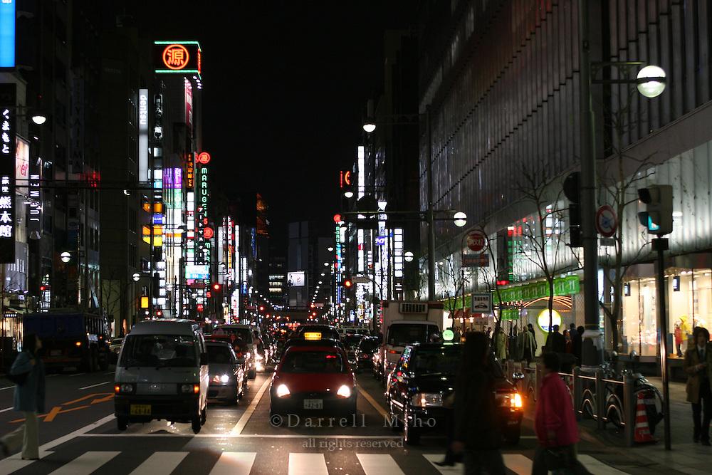 Mar 6, 2006; Tokyo, JPN; Ginza.Street scene at night in Ginza...Photo credit:  Darrell Miho