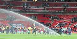 28.05.2011, Wembley Stadium, London, ENG, UEFA CHAMPIONSLEAGUE FINALE 2011, FC Barcelona (ESP) vs Manchester United (ENG), im Bild Barcelona dance in a ring the trophy for winning the 2011UEFA  Champions League final between Manchester United from England and FC Barcelona from Spain, played at Wembley Stadium London, EXPA Pictures © 2011, PhotoCredit: EXPA/ M. Gunn