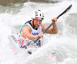 27.06.2015, Verbund Wasserarena, Wien, AUT, ICF, Kanu Wildwasser Weltmeisterschaft 2015, K1 men, im Bild Tomas Slovak (CZE) // during the final run in the men's K1 class of the ICF Wildwater Canoeing Sprint World Championships at the Verbund Wasserarena in Wien, Austria on 2015/06/27. EXPA Pictures © 2014, PhotoCredit: EXPA/ Sebastian Pucher