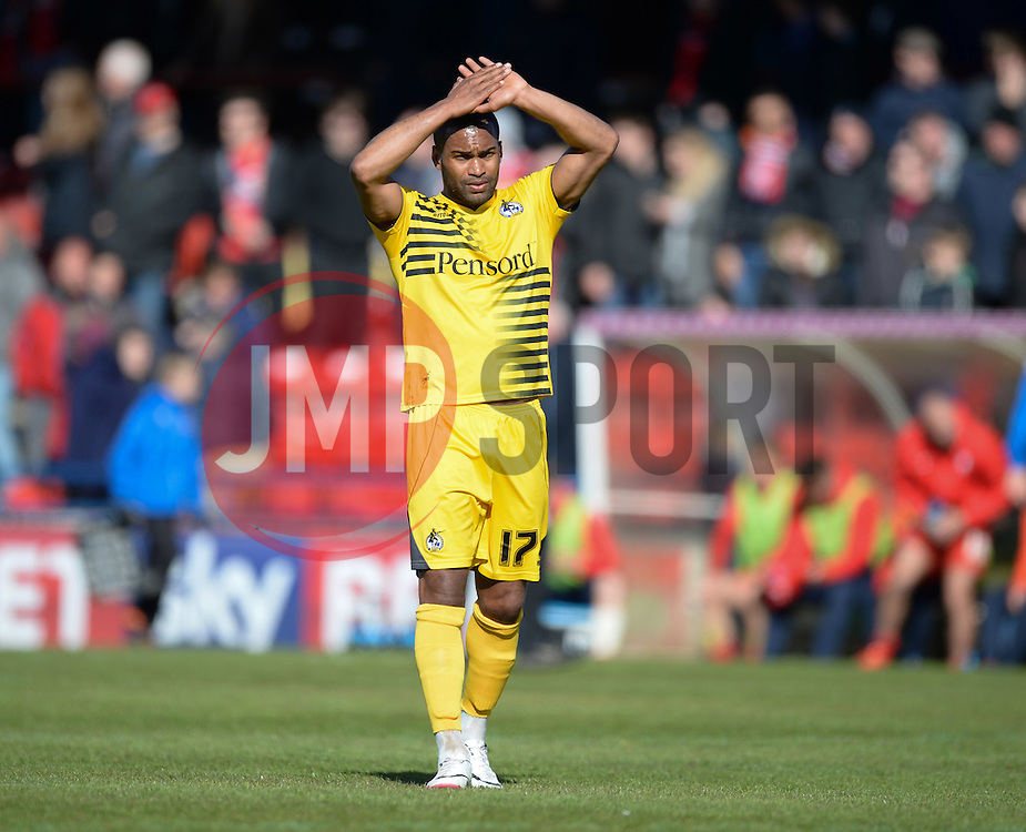 Jermaine Easter of Bristol Rovers claps the traveling fans. - Mandatory by-line: Alex James/JMP - 30/04/2016 - FOOTBALL - Bootham Crescent - York, England - York City v Bristol Rovers - Sky Bet League Two