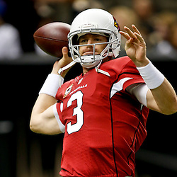 Sep 22, 2013; New Orleans, LA, USA; Arizona Cardinals quarterback Carson Palmer (3) against the New Orleans Saints prior to kickoff of a game at Mercedes-Benz Superdome. Mandatory Credit: Derick E. Hingle-USA TODAY Sports