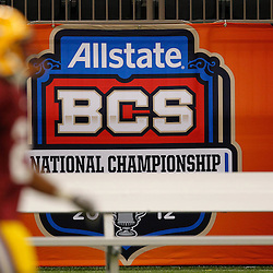 January 5, 2012; New Orleans, LA, USA; A BCS National Championship sign is seen on the wall during the LSU Tigers team practice for the 2012 BCS National Championship game to be played on January 9, 2012 against the Alabama Crimson Tide at the Mercedes-Benz Superdome.  Mandatory Credit: Derick E. Hingle-US PRESSWIRE