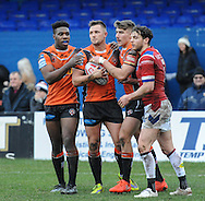 Greg Eden (2nd L) of Castleford Tigers celebrates scoring during the Pre-season Friendly match at Belle Vue, Wakefield<br /> Picture by Richard Land/Focus Images Ltd +44 7713 507003<br /> 15/01/2017