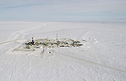 Alaska. Badami oil developement approximately 35 miles west of ANWR . West view. Arctic ocean to the North.