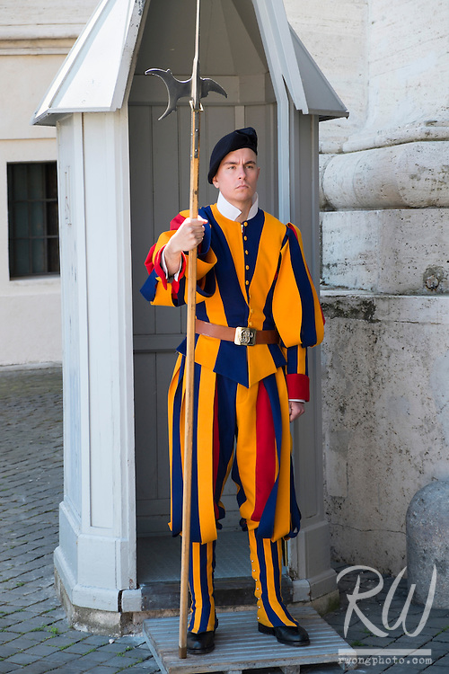 Swiss Guard at St. Peters Square, Vatican City, Italy