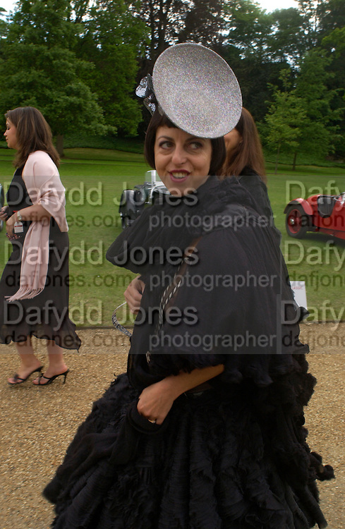 Isabella Blow, Louis Vuitton classic and celebration of their 150 anniversary. Waddesdon Manor, June 4 2004. ONE TIME USE ONLY - DO NOT ARCHIVE  © Copyright Photograph by Dafydd Jones 66 Stockwell Park Rd. London SW9 0DA Tel 020 7733 0108 www.dafjones.com