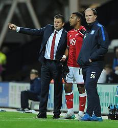 Bristol City manager, Steve Cotterill speaks with Liam Moore of Bristol City - Mandatory byline: Dougie Allward/JMP - 07966386802 - 15/09/2015 - FOOTBALL - Deepdale Stadium -Preston,England - Bristol City v Preston North End - Sky Bet Championship
