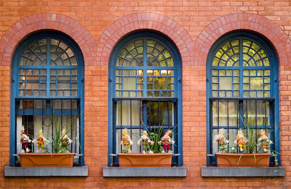 Arched Windows Of A New York City Building With Halloween Figures In The  Window Planterrs Michael J Treola Photography