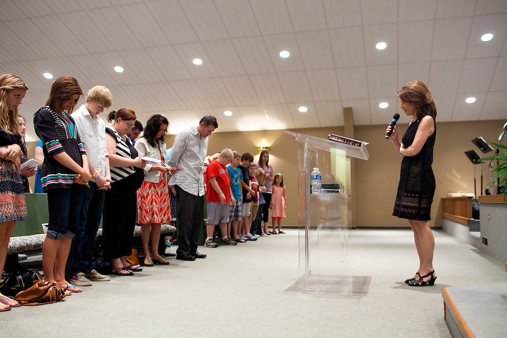 Republican presidential hopeful Michele Bachmann attends a church service at Living Word Outreach Ministries on Sunday, July 31, 2011 in Spencer, IA.