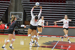 19 August 2017:  Jordan Weatherless during a college women's volleyball match Scrimmage of the Illinois State Redbirds at Redbird Arena in Normal IL (Photo by Alan Look)
