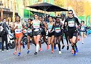 Azmera Gebru (ETH) and Clémence Calvin aka Clemence Calvin (FRA)l ead the women's race in the the 43rd Paris Marathon in IAAF Gold Label road race in Paris, Sunday, April 14, 2019. (Jiro Mochizuki/Image of Sport)