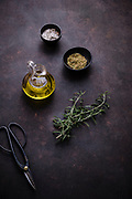 seasonings and olive oil for cooking