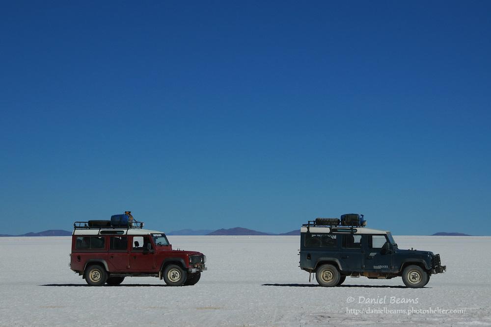 Land Rovers on the Salar de Uyuni, Potosi, Bolivia
