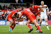 Bradford Bulls prop Jon Magrin (15) is stopped during the Kingstone Press Championship match between Sheffield Eagles and Bradford Bulls at, The Beaumont Legal Stadium, Wakefield, United Kingdom on 3 September 2017. Photo by Simon Davies.