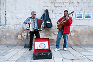 Buskers playing Croatian songs inside Diocletian's Palace, Split, Croatia