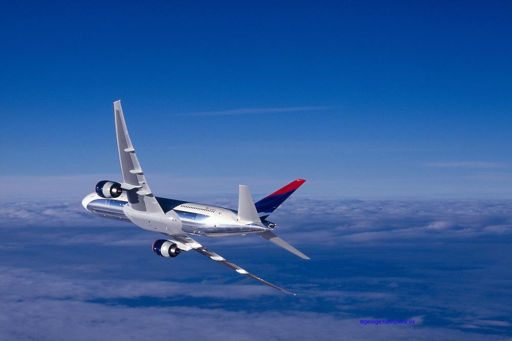 Boeing 777 banking away