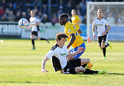 Bristol Rovers' Nathan Blissett  challenges Dover Athletic's Sean Raggett - Photo mandatory by-line: Neil Brookman/JMP - Mobile: 07966 386802 - 18/04/2015 - SPORT - Football - Dover - Crabble Athletic Ground - Dover Athletic v Bristol Rovers - Vanarama Football Conference