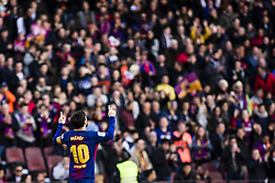 March 18, 2018 - Barcelona, Spain - BARCELONA, SPAIN - MARCH 18: 10 Leo Messi from Argentina of FC Barcelona celebrating his goal  during La Liga match between FC Barcelona v Atletic de Bilbao at Camp Nou Stadium in Barcelona on 18 of March, 2018. (Credit Image: © Xavier Bonilla/NurPhoto via ZUMA Press)