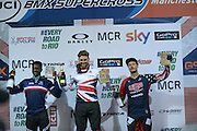 Elite Men's Winners Podium, Liam Philips, Winner BMXMX World Cup Finals at  at the Manchester Arena, Manchester, United Kingdom on 19 April 2015. Photo by Charlotte Graham.
