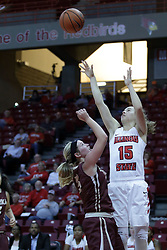 01 November 2017: Frannie Corrigan shoots past Kennedy Dura during a Exhibition College Women's Basketball game between Illinois State University Redbirds the Red Devils of Eureka College at Redbird Arena in Normal Illinois.