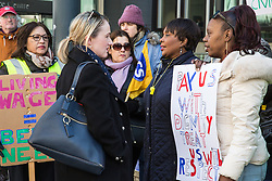London, UK. 10th April 2019. Rebecca Long-Bailey (c), Shadow Secretary of State for Business Energy & Industrial Strategy, joins outsourced workers belonging to the Public & Commercial Services (PCS) union standing on a picket line outside their place of work at the Government Department for Business, Energy and Industrial Strategy (BEIS) during strike action to demand a real living wage of £10.55 per hour (the Living Wage Foundation's London Living Wage) and terms and conditions comparable with civil servants who work in the same department.