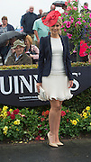01/08/2014 Student Jennifer Higgins from Belfast in Galway for the weekend did well in winning a stay and shop in the Athlone town centre s in the My Fair Lady competition at the Friday evening Meeting of the Galway Summer racing festival. Photo:Andrew Downes  .