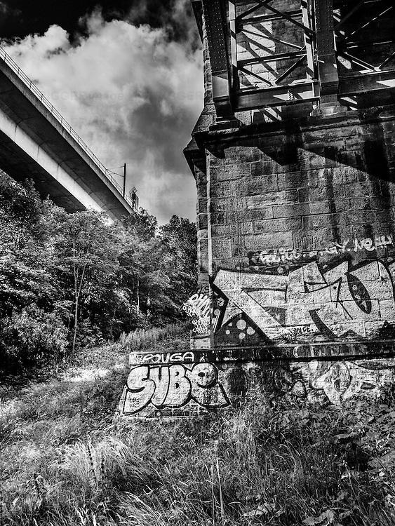 Bridge with graffiti