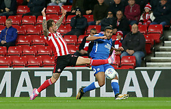 Colin Daniel of Peterborough United puts in a cross beyond Chris Maguire of Sunderland - Mandatory by-line: Joe Dent/JMP - 02/10/2018 - FOOTBALL - Stadium of Light - Sunderland, England - Sunderland v Peterborough United - Sky Bet League One